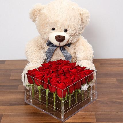 Birthday Flowers with Teddy Bear Online
