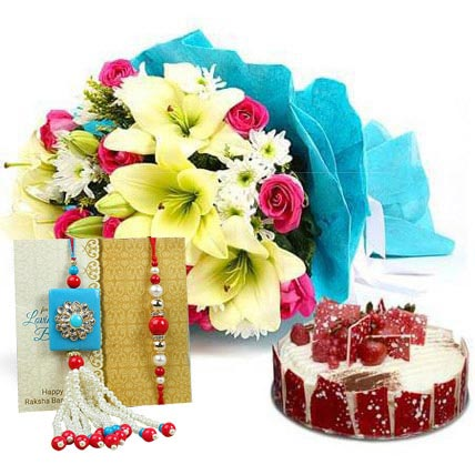 Elegant Bouquet with Cake N Rakhi