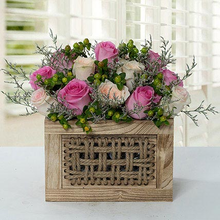 Graceful Rose Wooden Arrangement