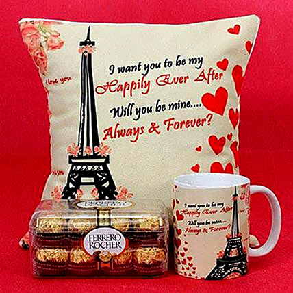 Happily Ever After Printed Cushion and Mug Combo