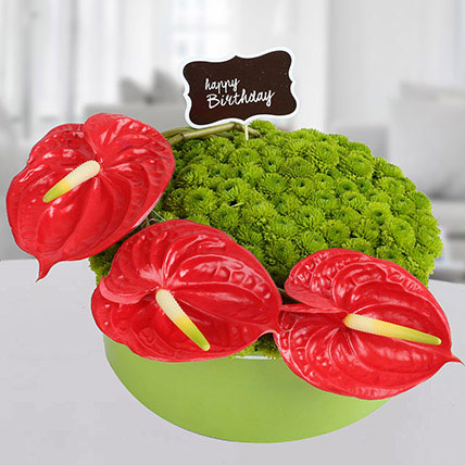 Red N Green Flower Vase Arrangement