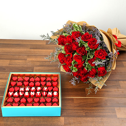 Rose Bouquet and Heart Shaped Chocolate Combo