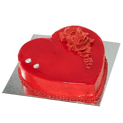 Red Heart Shape Chocolate Cake