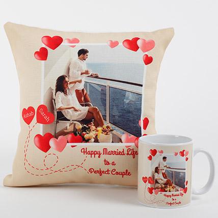 Gift for her him anniversary Wedding Gift Pair heart mugs personalised