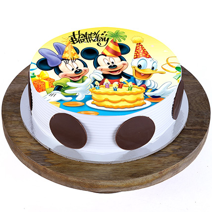 Mickey and Minnie Butterscotch Cake 1 Kg Eggless
