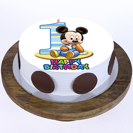 Bday Mickey Mouse Blackforest Cake 1 Kg Eggless