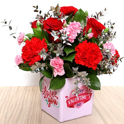 Valentines Love You Flower Vase