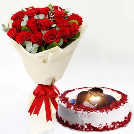 Red Roses Bouquet & Red Velvet Cake