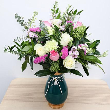 Roses N Carnations in Glass Vase