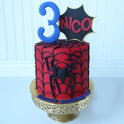 Spiderman Themed Chocolate Cake