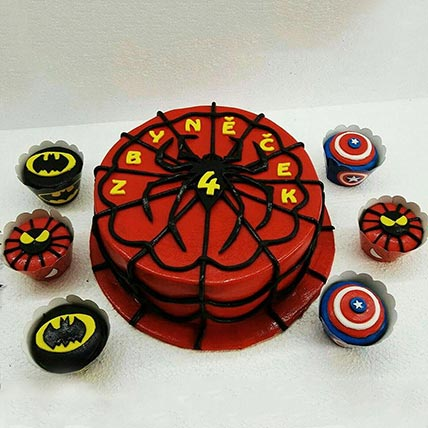 Spiderman Vanilla Cake and Cup Cakes