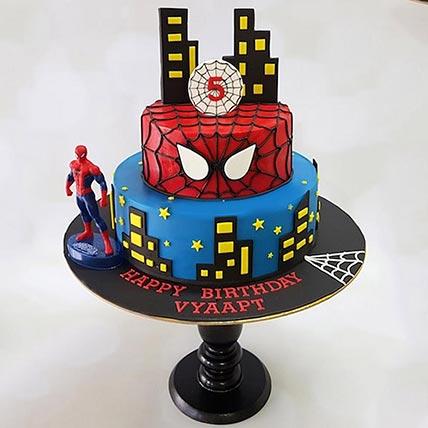 2 Tier Chocolate Spiderman Cake