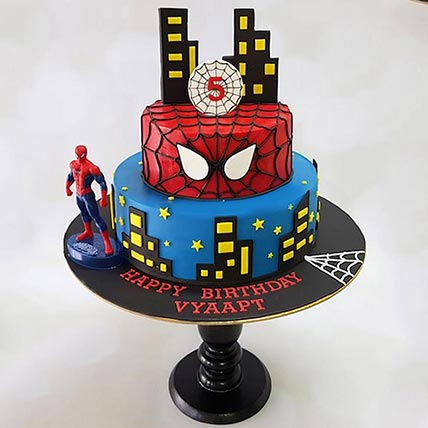 2 Tier Marble Spiderman Cake