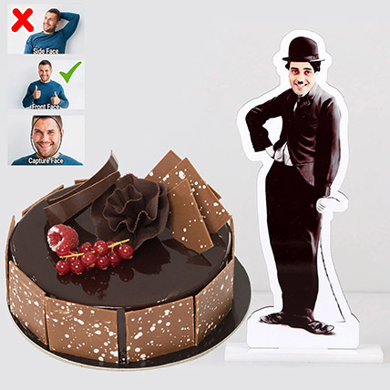 Personalised Caricature Charlie Chaplin with Fudge Cake