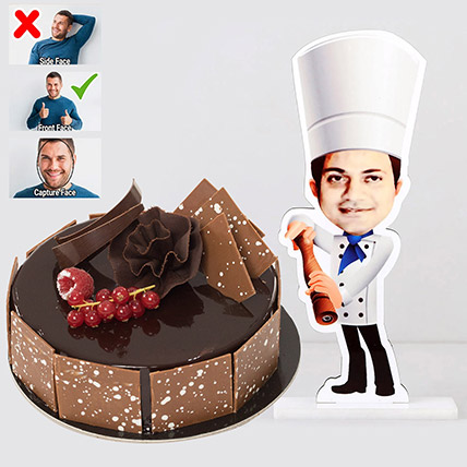 Personalised Caricature Chef with Fudge Cake