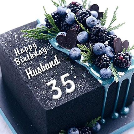 Birthday Blueberry Square Cake
