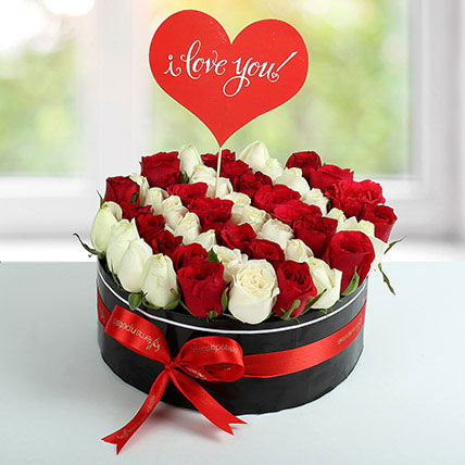 White N Red Roses Love Proposal Arrangement