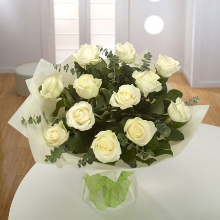 White Roses Bouquet Premium