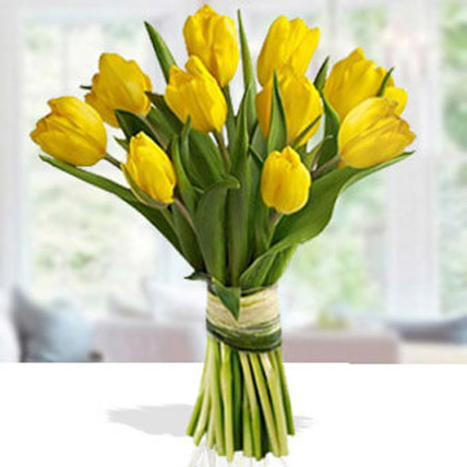 Yellow Tulip Arrangement Deluxe