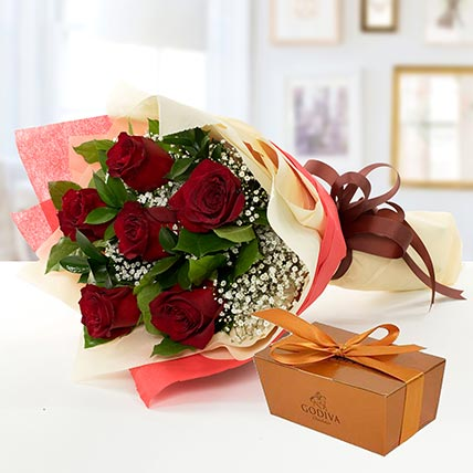 6 Red Roses and Godiva Chocolate Combo LB