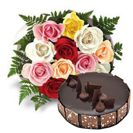 Dozen Multi Roses with Fudge Cake OM