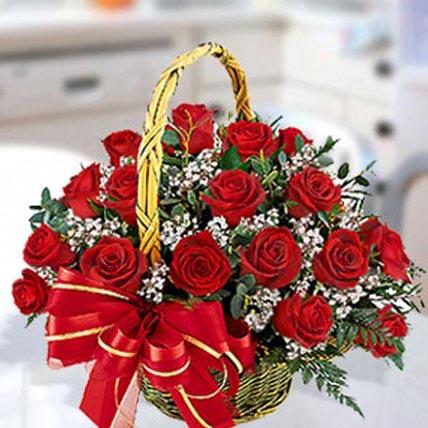 Red Roses Arrangement in Basket OM