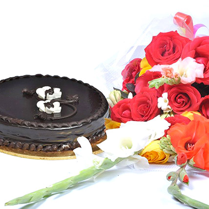 Chocolate Fudge Cake N Floral Bouquet