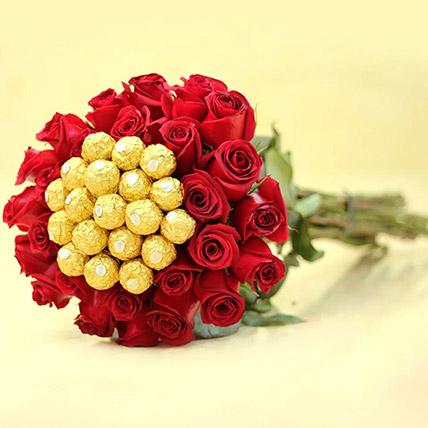 Ferrero Rocher And Rose Arrangement