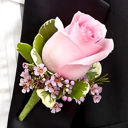 Delicate Pink Rose Boutonniere