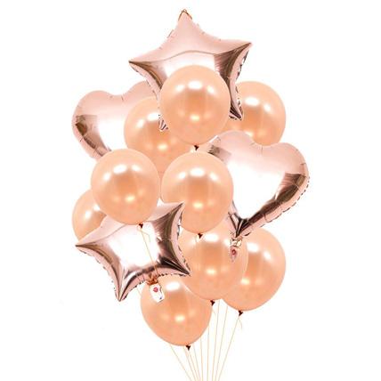 Heart N Star Shaped Rose Gold Balloons