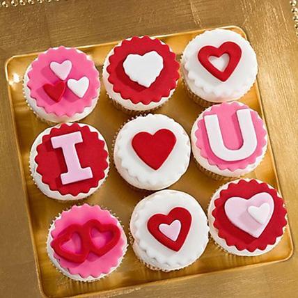 I Love U Designer Vanilla Cupcakes Set Of 9