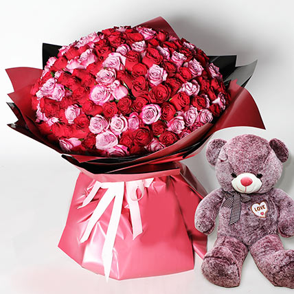 Teddy And 200 Roses Special Bouquet