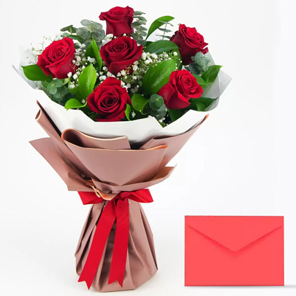 6 Red Roses Bouquet With Greeting Card PH