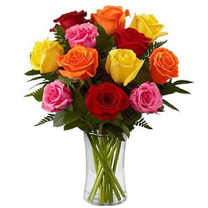 Dozen Mix Roses in a Glass PH