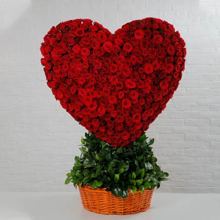 Basket Of Heart Red Rose