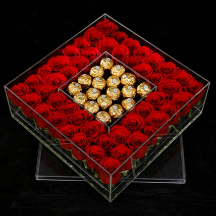 Ferrero Rocher & Red Roses Box
