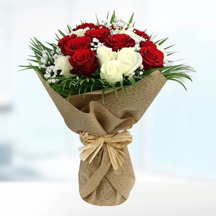 Graceful White & Red Roses Bouquet