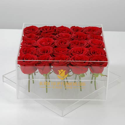 Romantic Box Of Red Roses