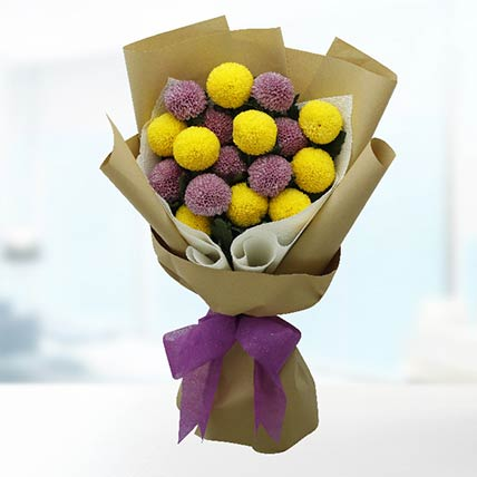 Yellow & Purple Ping Pong Bouquet
