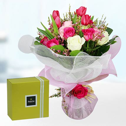 Tulips & Roses With Patchi Chocolates- Premium