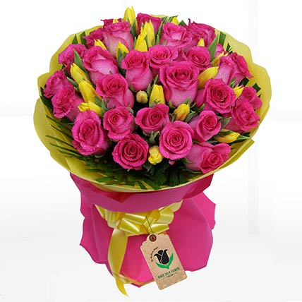 Yellow Tulips & Pink Roses Bouquet- Standard