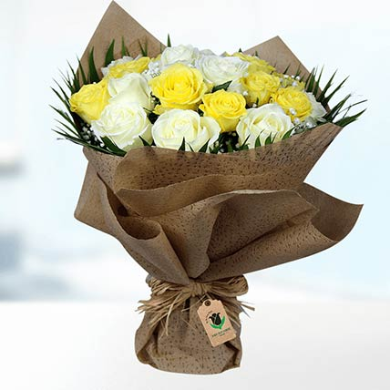 Yellow & White Roses Bouquet- Deluxe