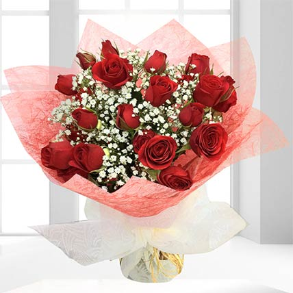 10 Fresh Red Spray Roses Bouquet