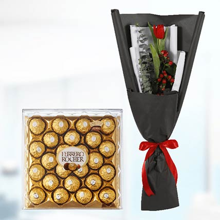 10 Red Tulips & Ferrero Rocher
