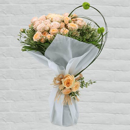 10 Stems Loving Peach Roses Bouquet