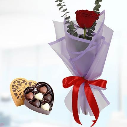 12 Red Roses Purple Wrap & Godiva Chocolates