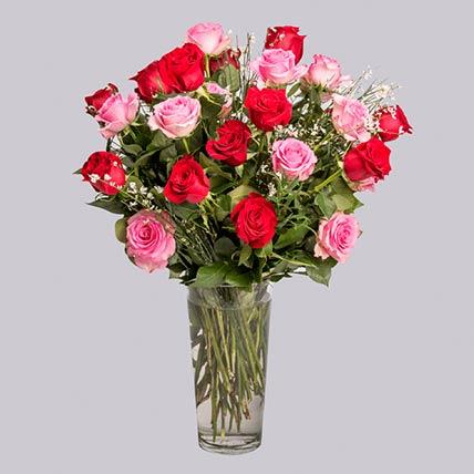 20 Pink & Red Roses Vase