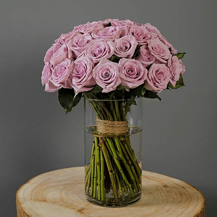 30 Stems Purple Roses Vase