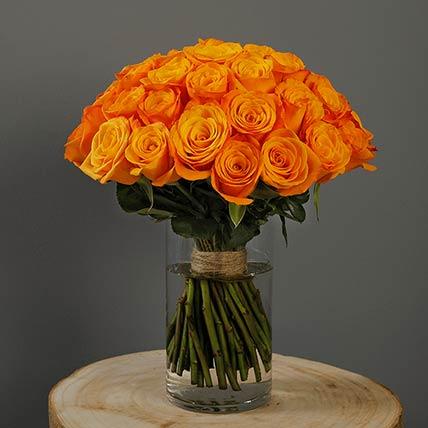 40 Stems Orange Roses Vase