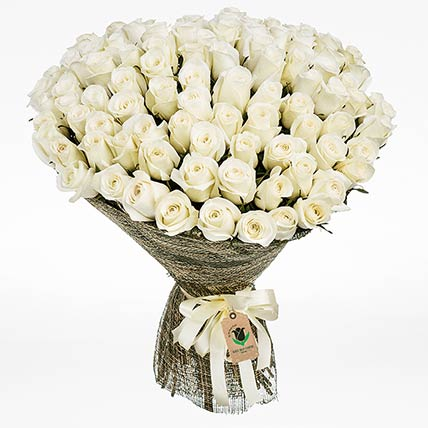 50 Elegant White Roses Bouquet